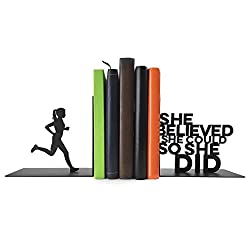 Gone For a Run Running Metal Bookends | Decorative | Nonskid | She Believed She Could | Inspiring Running Décor for Runners Room