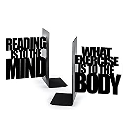 Balvi - Exercise Your Mind Metal bookends. Set of Two Pieces.